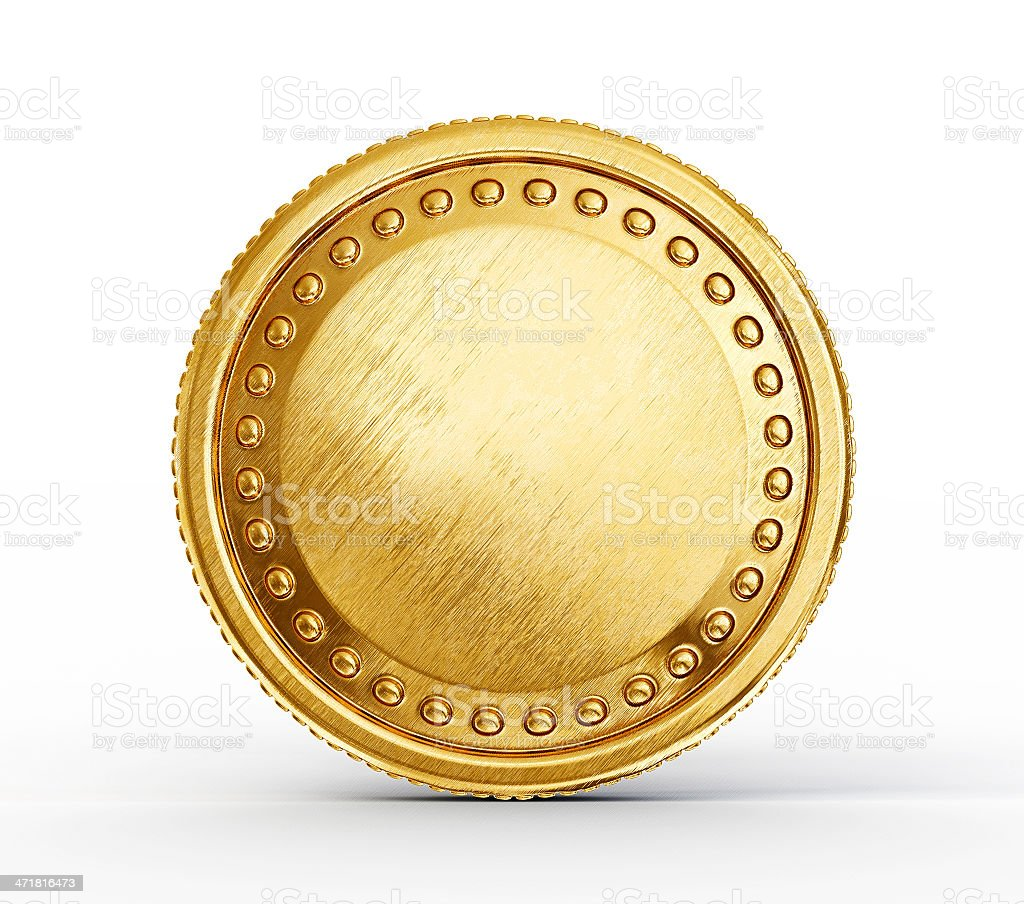 A pure gold coin with raises dots in a circle in it stock photo