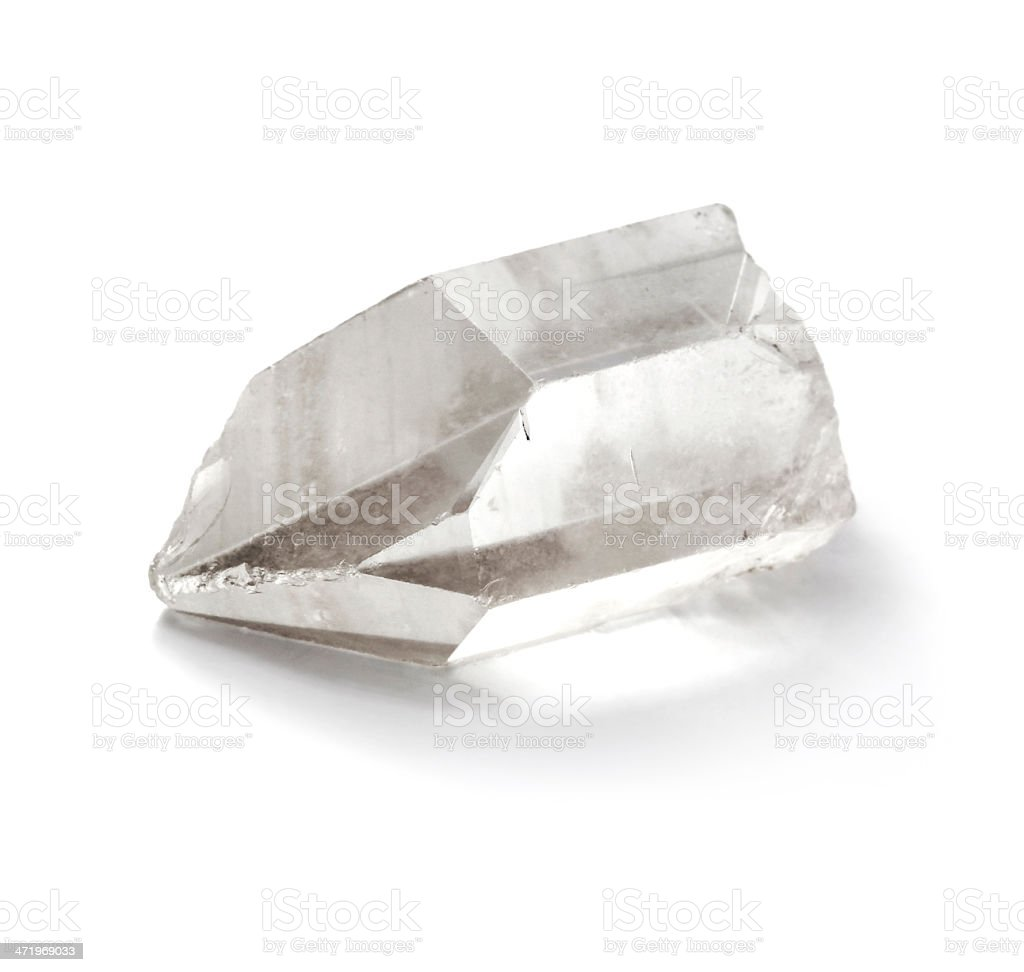 Pure quartz crystal isolated on the white background stock photo