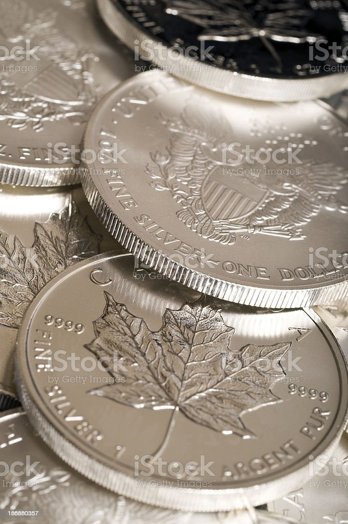 Pure silver bullion coins royalty-free stock photo