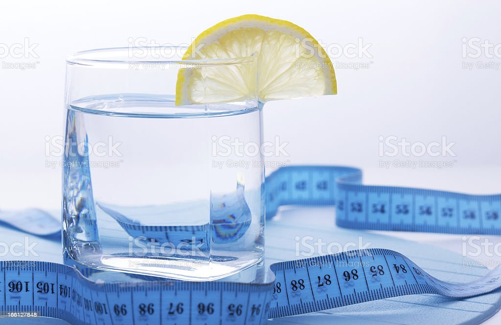 Pure water for healthy life with lemon royalty-free stock photo