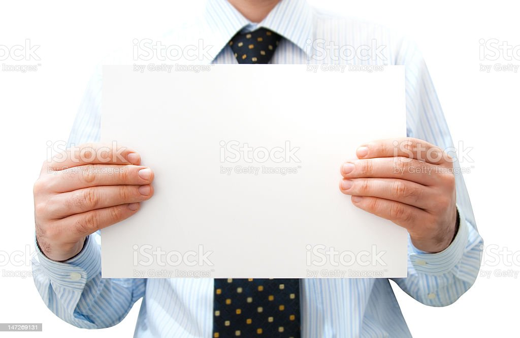Pure white card in man's hand royalty-free stock photo