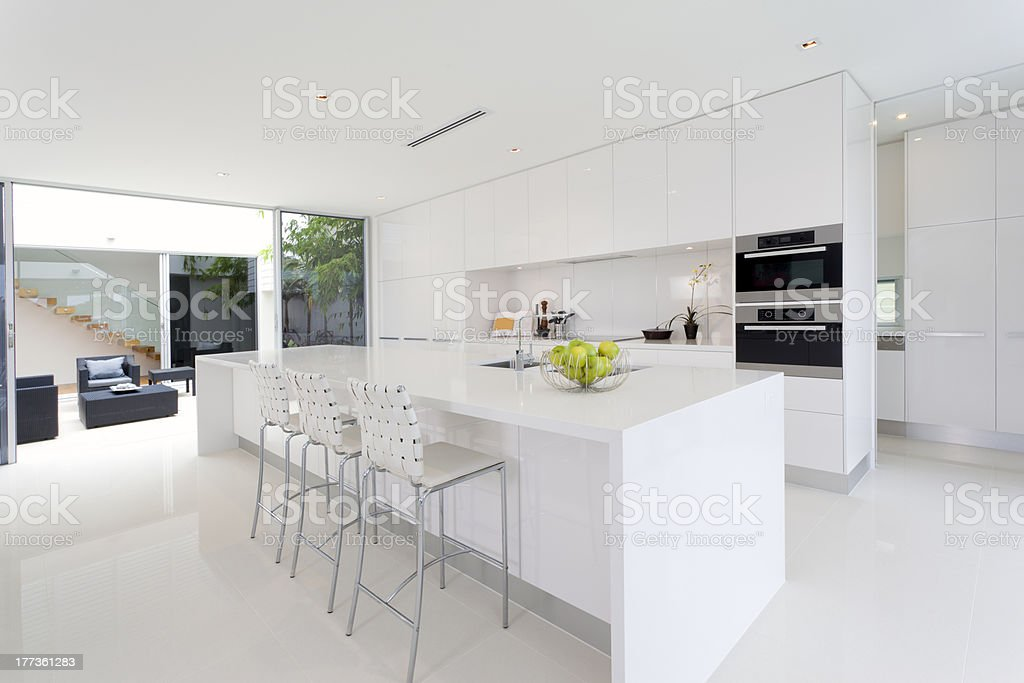 A pure white dream kitchen that is totally spotless  royalty-free stock photo