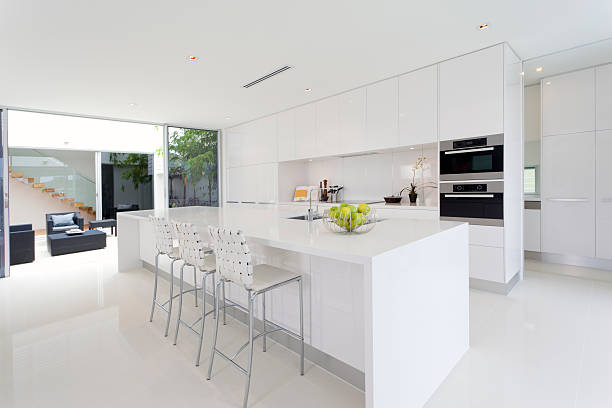 A pure white dream kitchen that is totally spotless  stock photo
