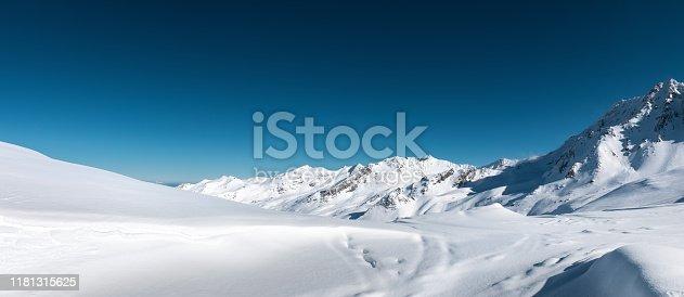 Ski slopes in Val Thorens, France.