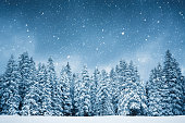 Idyllic snowy winter scene: snowcapped trees with falling snowflakes.