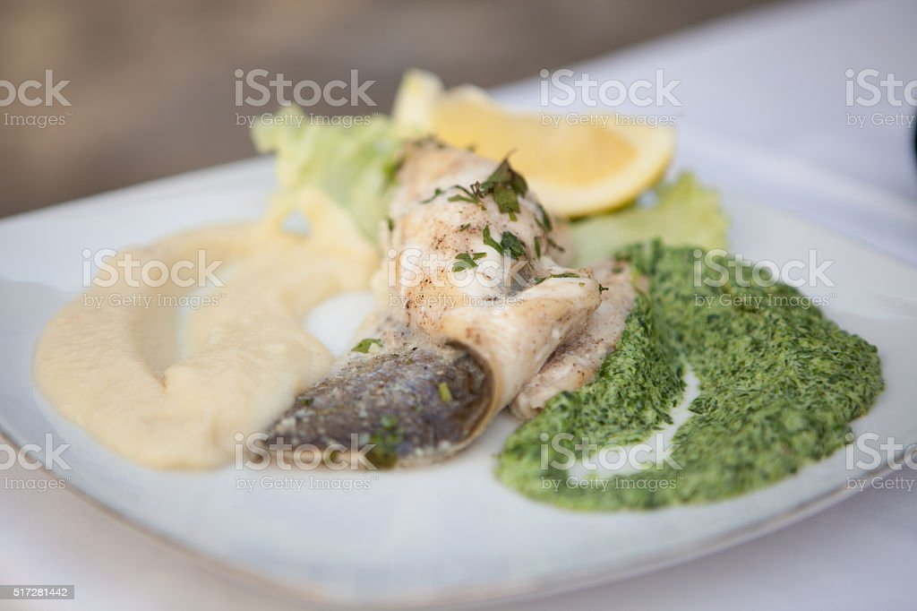 puree fish spinach meal stock photo