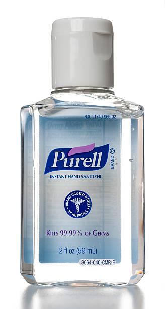 purell instantánea sanitizer botella de mano - hand sanitizer fotografías e imágenes de stock