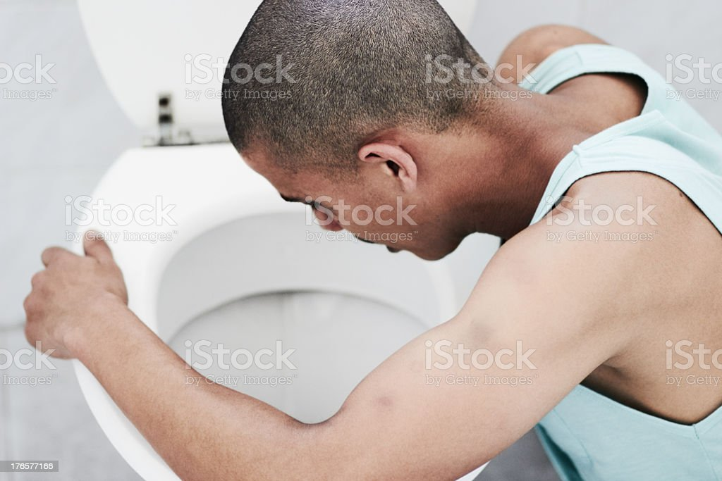 Purging his system stock photo