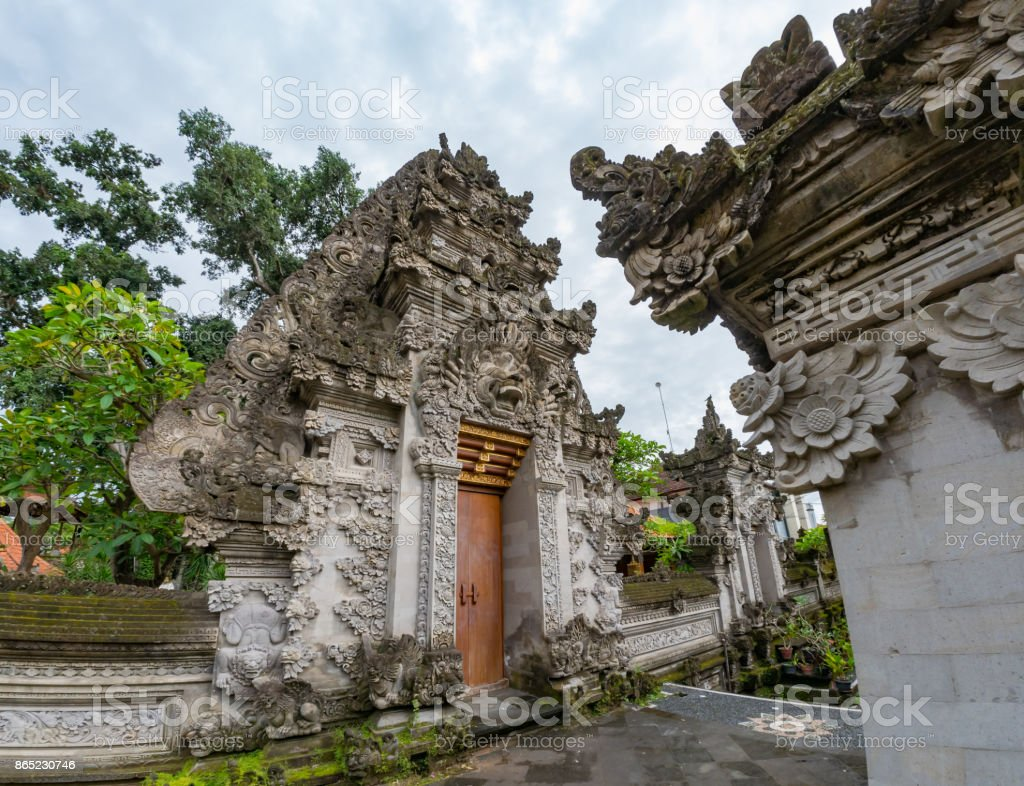Puri Kantor, a Hindu temple in the center of Ubud, Bali, Indonesia. stock photo