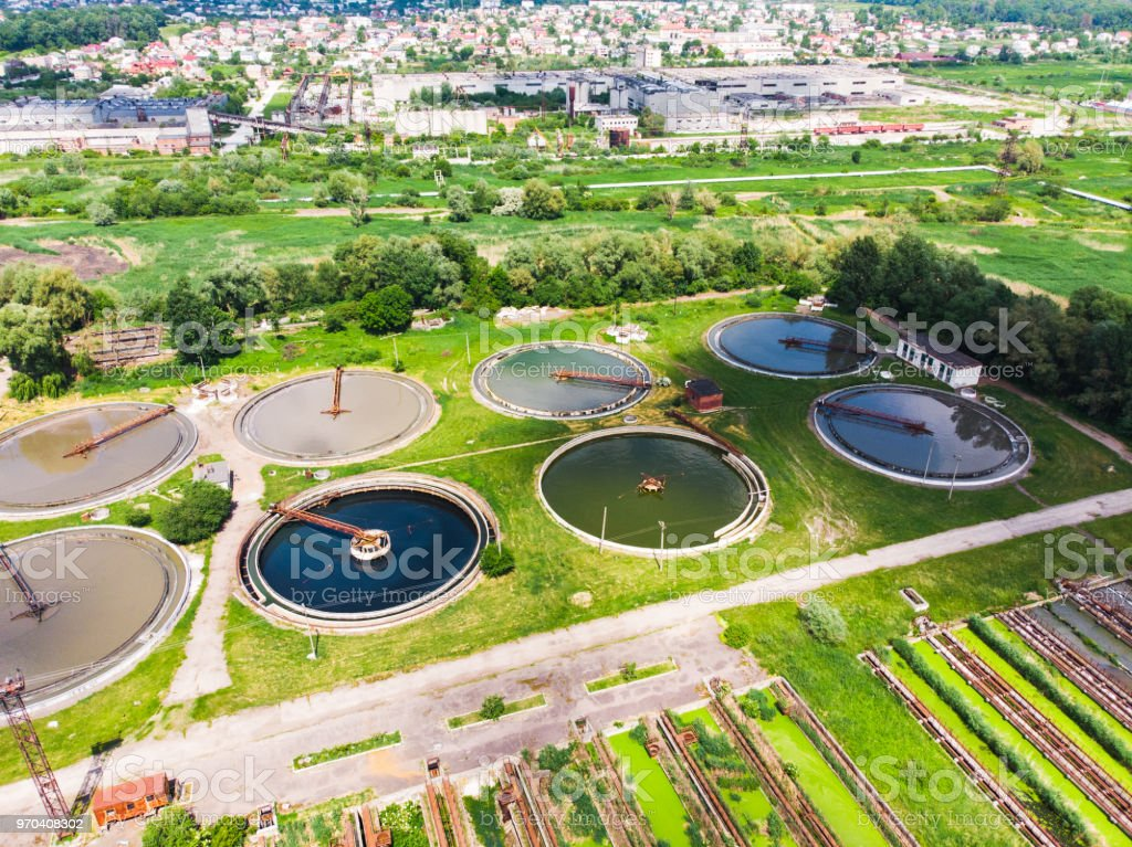 purification systems aerial view. sunny day stock photo