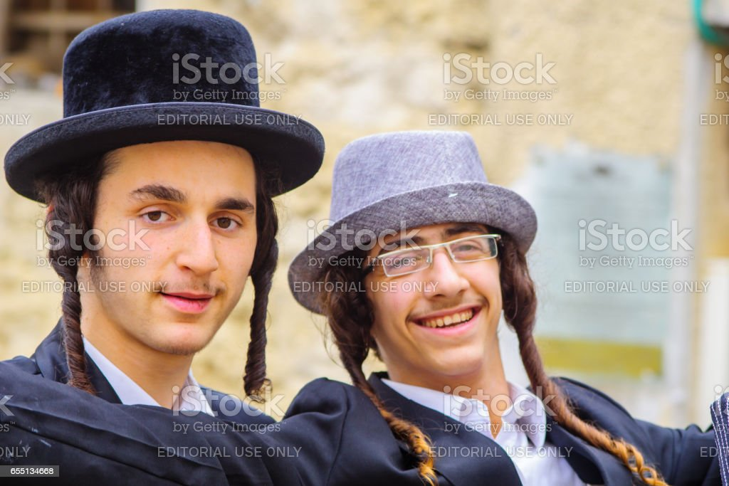 Purim 2017 in  Mea Shearim, Jerusalem stock photo