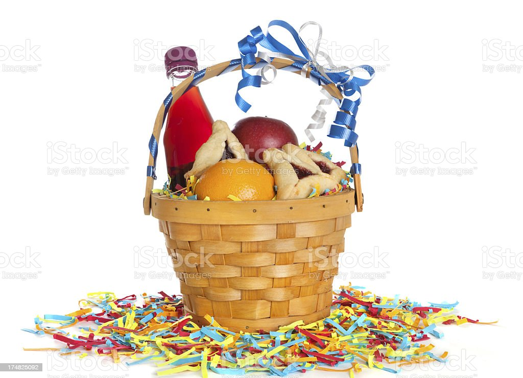 Purim basket stock photo