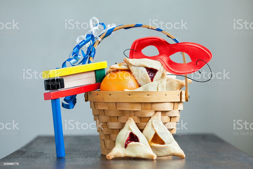 Purim basket stock photo