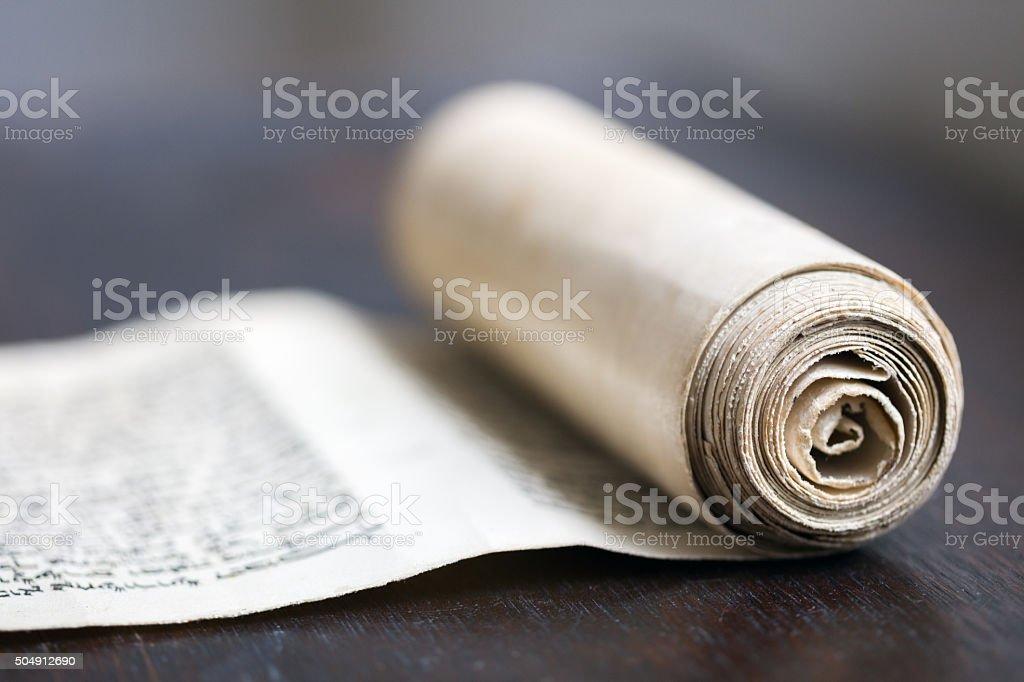 Purim scroll stock photo
