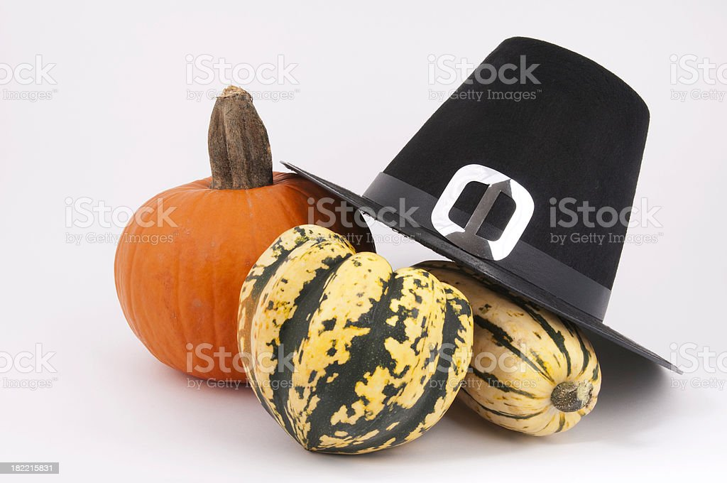 Puritan hat Pumpkin and gourds royalty-free stock photo