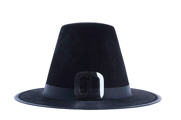 Puritan's Hat Hat isolated on white with clipping path pilgrim stock pictures, royalty-free photos & images