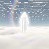 Figure in shining cloak stands on a field of clouds. 3D rendering