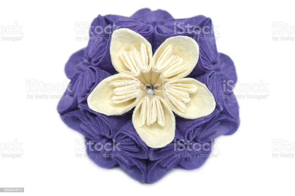 Purplae And White Origami Kusudama Flower Stock Photo More