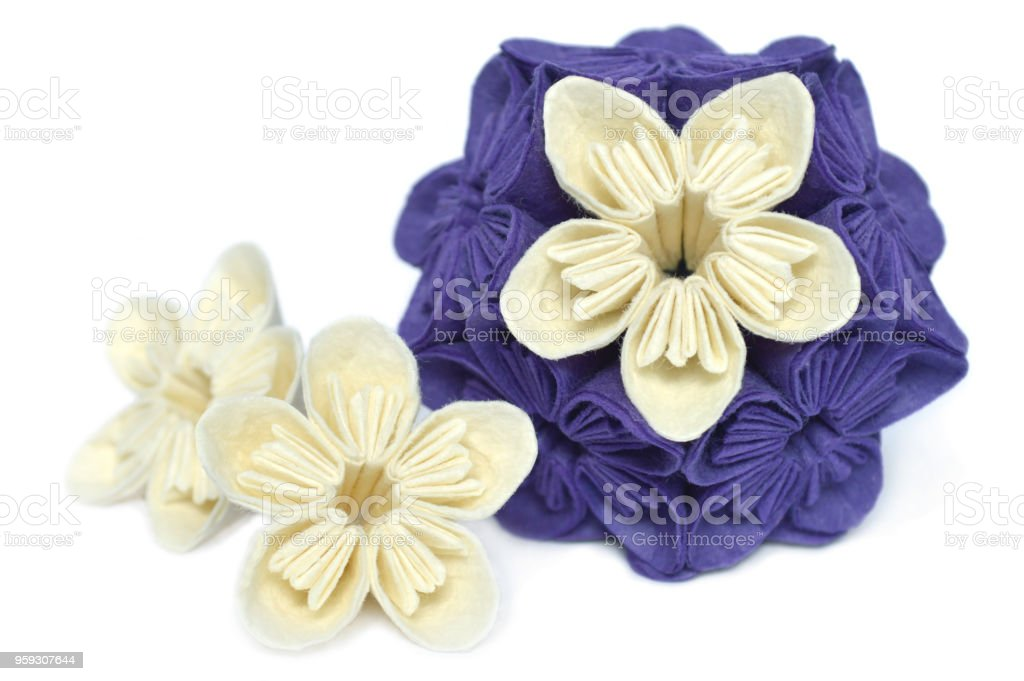 Purplae and white origami kusudama flower stock photo more purplae and white origami kusudama flower royalty free stock photo mightylinksfo