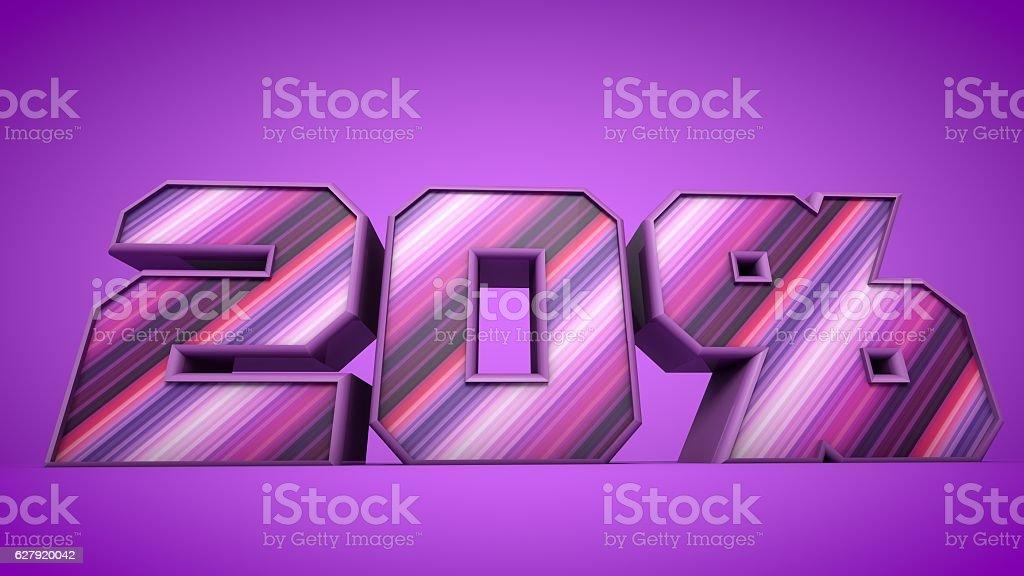 20% purple 3d text illustration stock photo