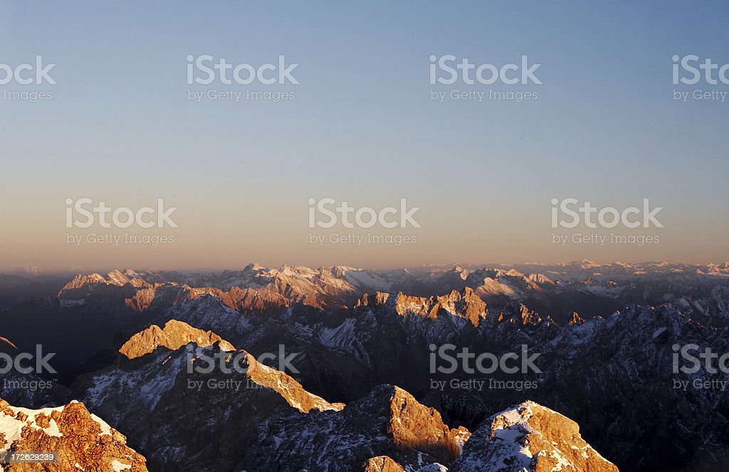 purple afterglow on mt. zugspitze royalty-free stock photo