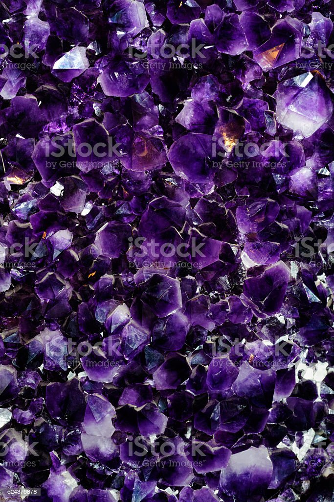 Purple amethyst crystals stock photo