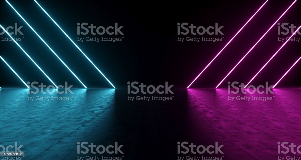 Purple And Blue Shaped Neon Lights With Reflections On The Floor. 3D Rendering stock photo