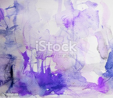 911585920 istock photo Purple and blue watercolor background on a white paper 1216886133