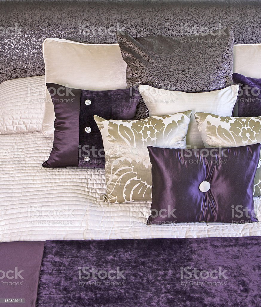 purple and cream cushions royalty-free stock photo
