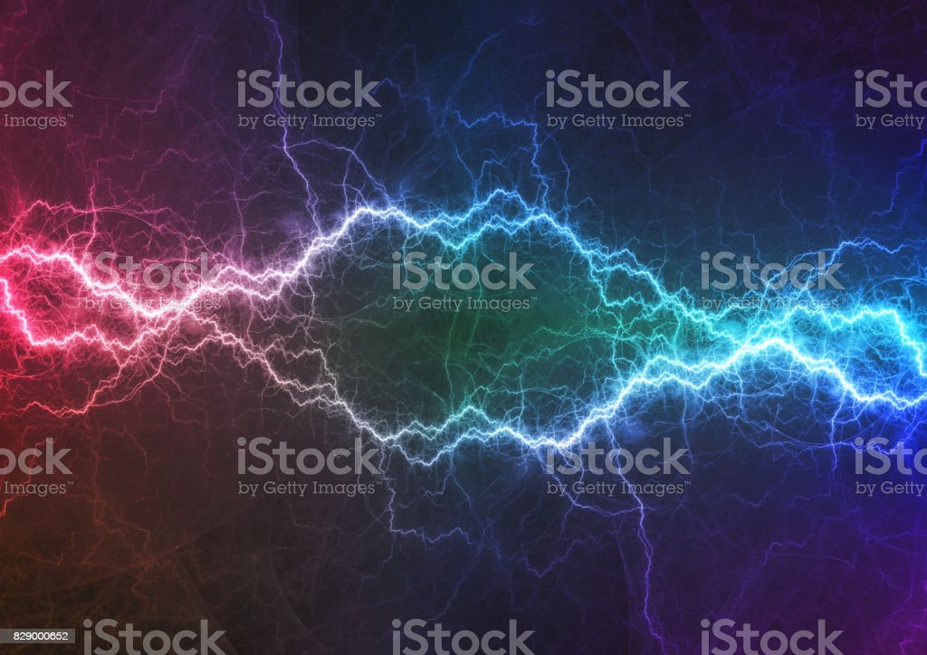 Purple and cyan lightning, power and energy abstract stock photo