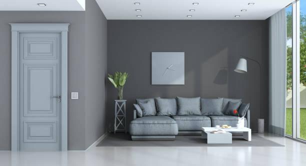 lila und grau lounge - hellblaues zimmer stock-fotos und bilder