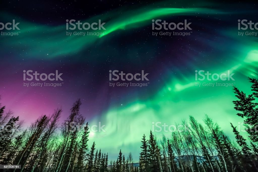Purple and green northern Lights stock photo