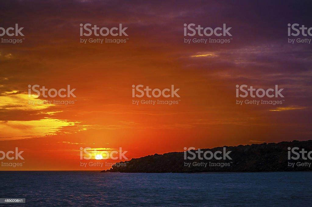 Purple and Orange Sunset stock photo