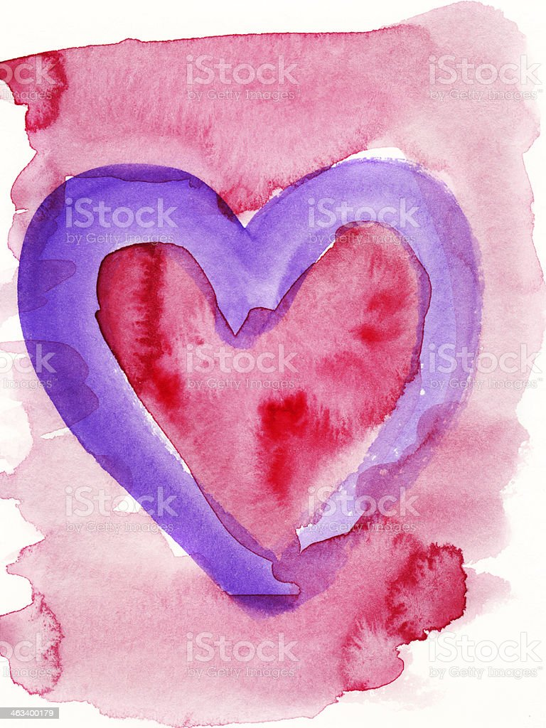 Purple and red heart stock photo