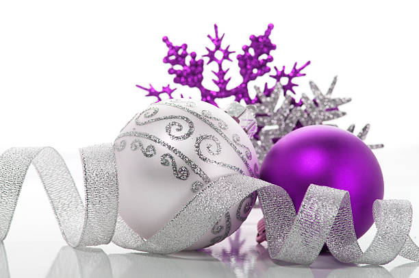purple and silver christmas decoration stock photo - Purple And Silver Christmas Decorations