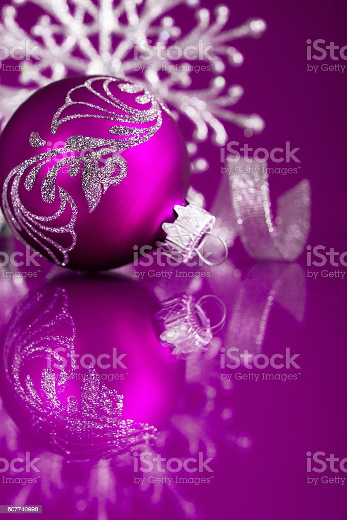 purple and silver christmas ornaments on dark purple xmas background royalty free stock photo - Purple And Silver Christmas Decorations