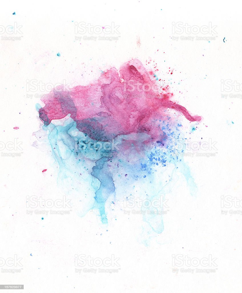Purple and turquoise abstract painted splashes. royalty-free stock photo