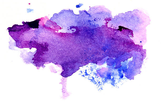 purple and violet abstract painted splashes - purple watercolor stock pictures, royalty-free photos & images