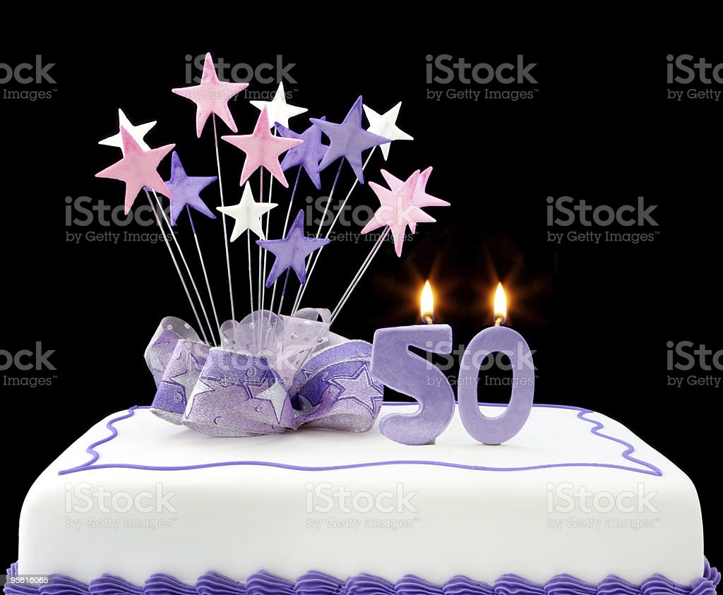 Purple And White 50th Birthday Cake Royalty Free Stock Photo