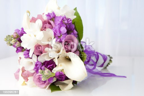 Purple mixed spring bridal bouquet