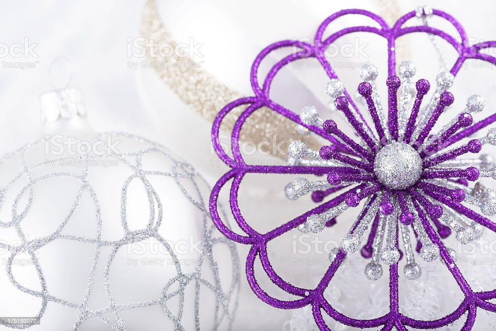 Purple and White Christmas Baubles royalty-free stock photo