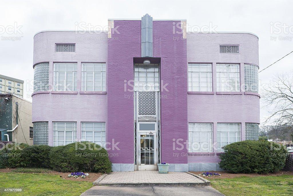 Purple Art Deco Apartment Building in Decatur Georgia stock photo