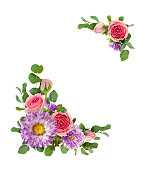 istock Purple asters and pink rose flowers with eucalyptus leaves in a corner arrangements 928473114