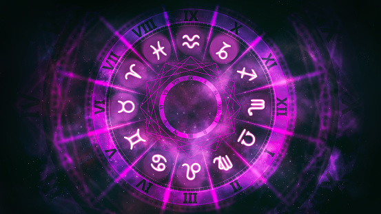 Purple astrological wheel with zodiac symbols and night starry sky.