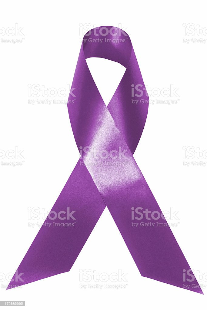 Purple awarenes ribbon stock photo