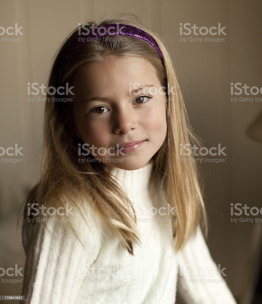 Purple Banded Girl stock photo