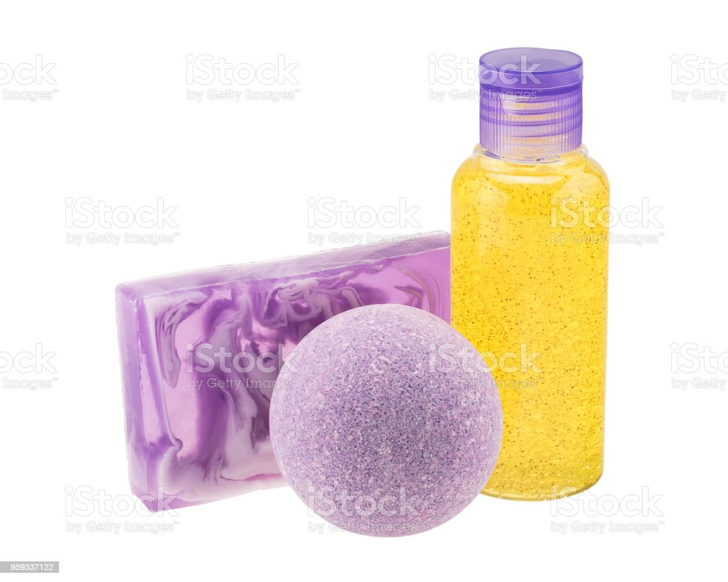 Purple bath bomb, handmade soap and cosmetic bottle stock photo