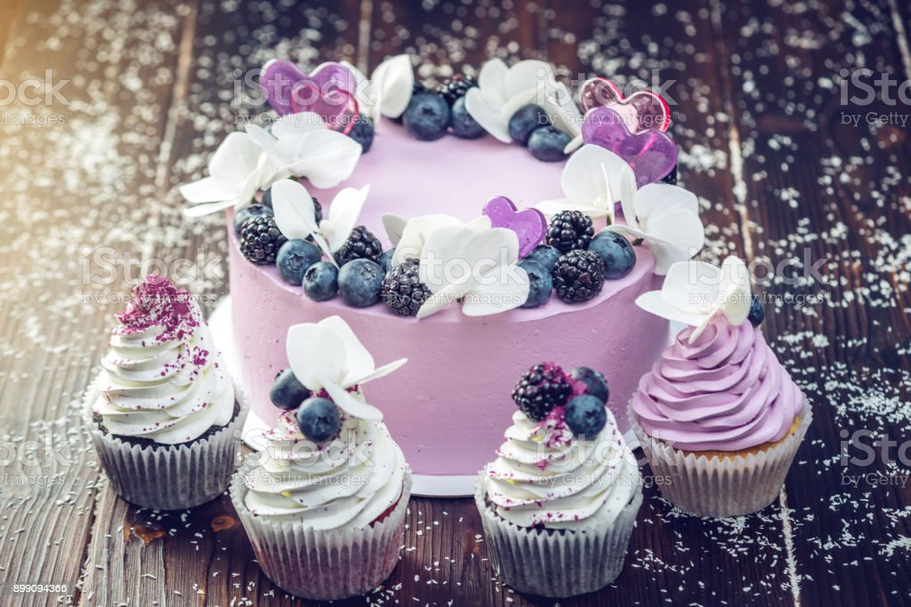 Purple Beautiful Cake Decorated With Berries Blackberries And Blueberries On Top Cupcakes The Festive Table