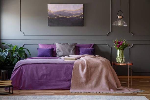 lila schlafzimmer innenansicht - pflaumen wände stock-fotos und bilder