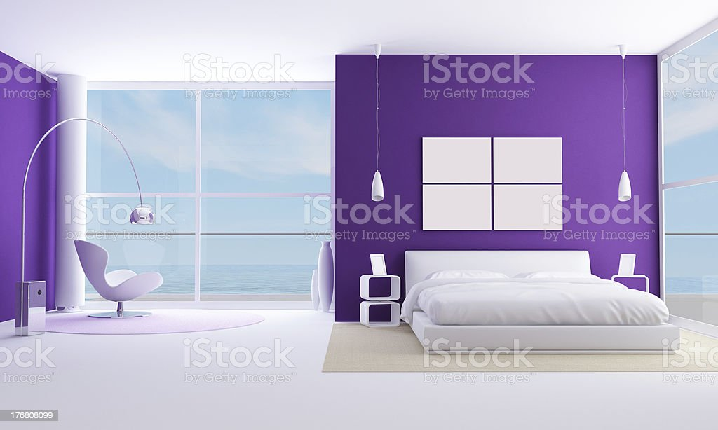 purple bedroom royalty-free stock photo